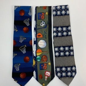 Bundle of 3 Sports Ties Basketball, ESPN, Baseball